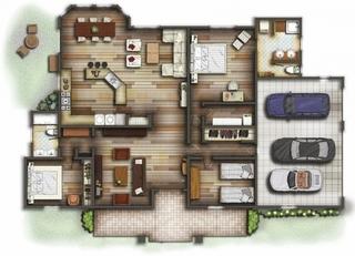 Casa parter cu garaj mare