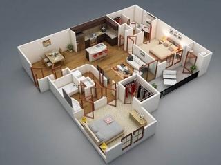 Plan 3D casa parter