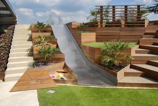 Proiect de amenajare curte cu teren in panta