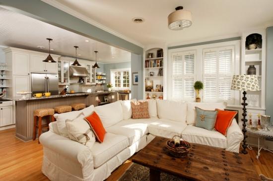 Amenajare living si bucatarie open space cu arcada din rigips gri inchis