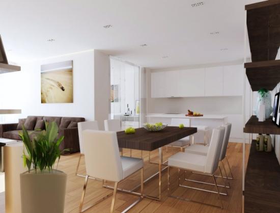 studio amenajat cu bucatarie living si dinning