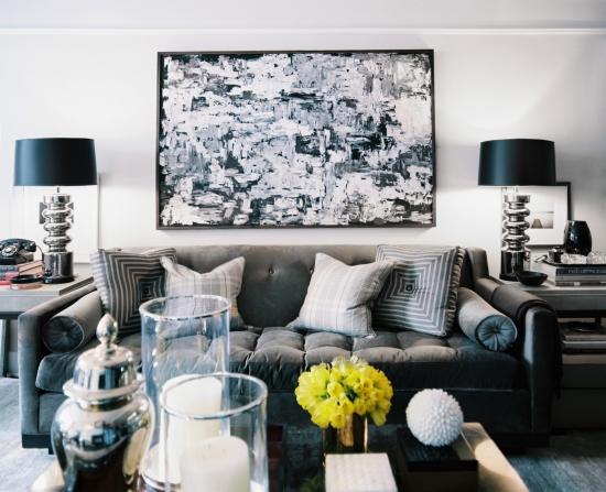 Efecte de gri negru si alb pentru living