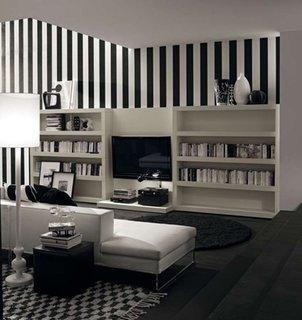 Living amenajat modern in alb cu negru