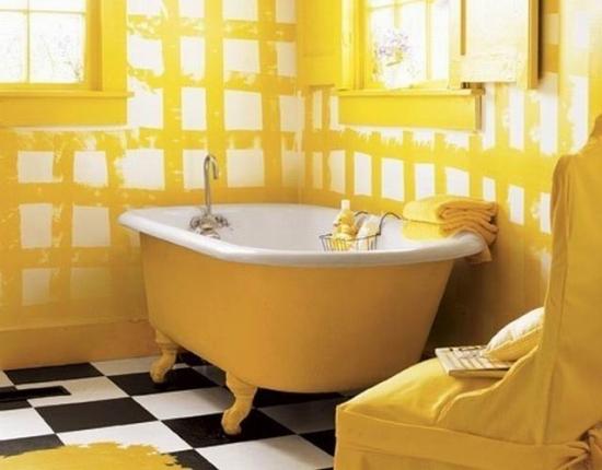 Cada de baie vopsita cu galben
