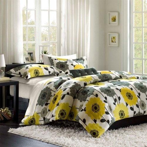 Pata de culoare pentru dormitor lenjerie de pat galbena cu gri