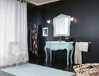 Camera cu pereti negri si accesorii albe