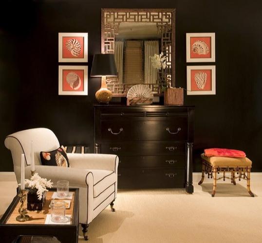 Camera cu pereti negri si mobila neagra