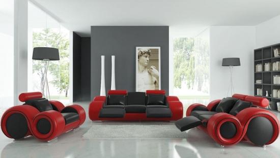 Canapele si fotolii din piele negru cu rosu