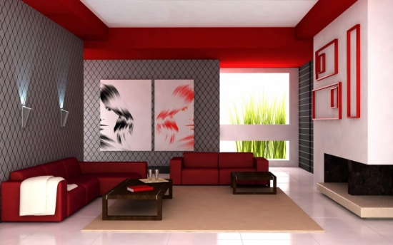 Concepte de rosu pentru sufrageria ta