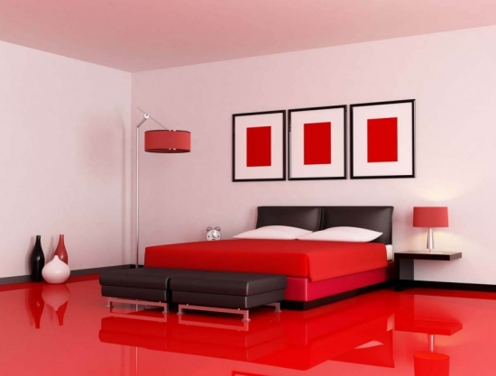 Dormitr cu pardoseala lucioasa rosie