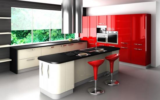 Mobila rosie lucioasa asortata cu dulapuri albe si negre pentru o bucatarie moderna