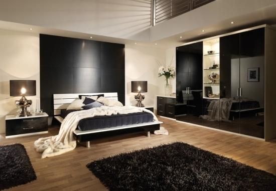 Mobila alb cu negru pentru dormitor