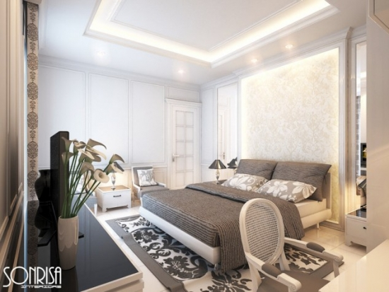 Mobila clasica alba pentru dormitor