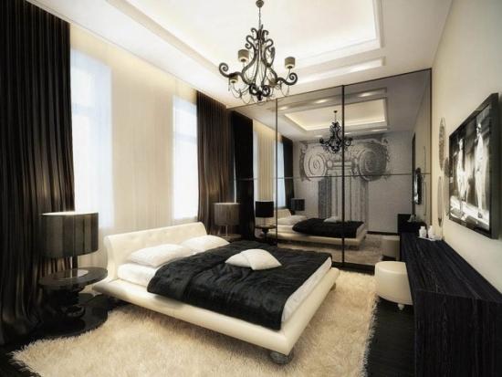 Mobilier contemporan dormitor de culoare neagra