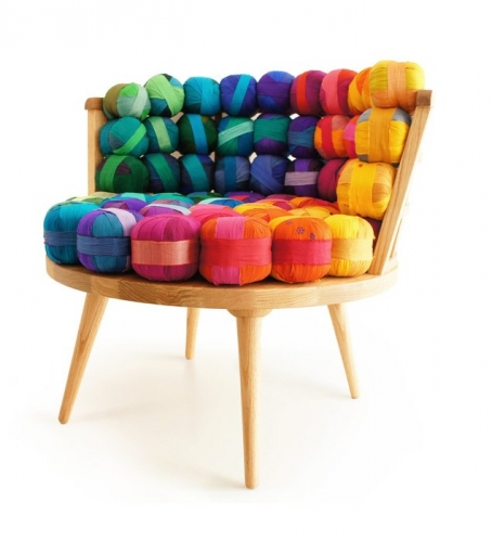 Fotoliu designer din gheme de lana