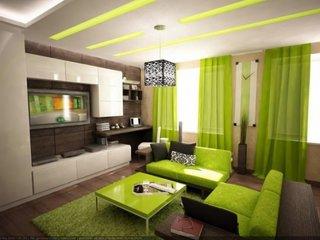 Living modern cu decoratiuni verzi