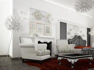Dormitor monocromatic cu accente de rosu pe covor si pe perne