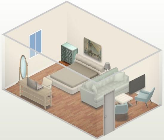 Camera amenajata cu pat si canapea