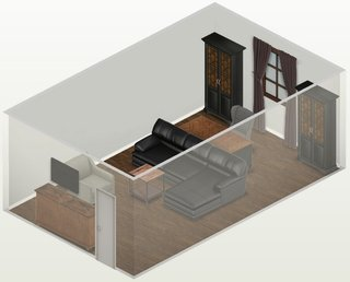 Plan design interior living cu canapea in centru