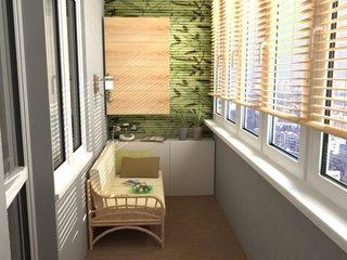 Balcon mic lung si ingust amenajat in nuante de gri si verde