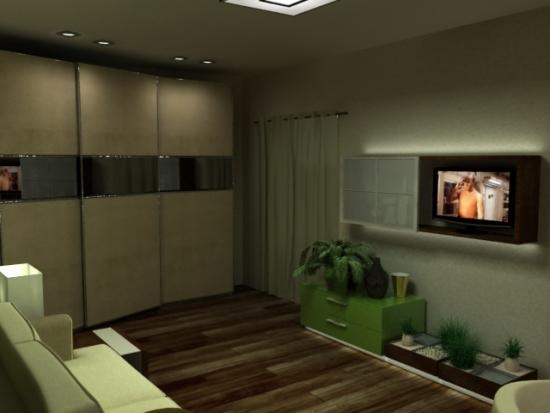 Living cu mobilier verde crem si wenge