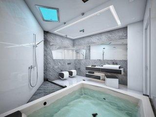 Baie futurista cu obiecte sanitare suspendate si jacuzzi