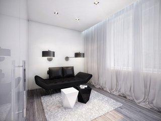 Canapea neagra de doua locuri minimalista