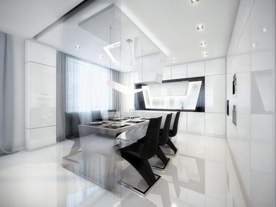 Dinning cu masa transparenta si scaune futuriste negre