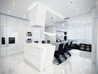 Dinning si living open space amenajate in alb si negru
