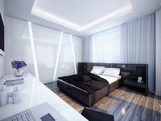 Dormitor alb cu mobila neagra