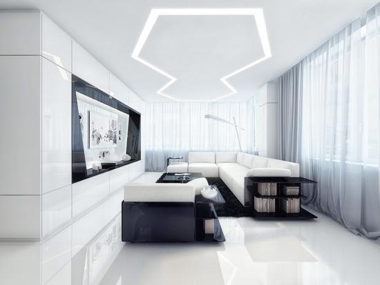 Apartament modern amenajat in alb si negru