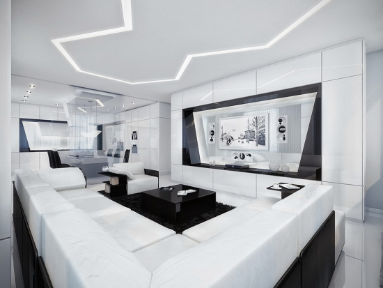 living cu mobila moderna alb cu negru