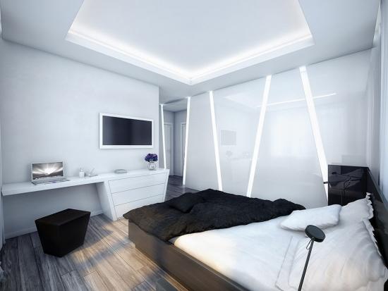 Pat negru asezat pe mijloc in dormitor modern