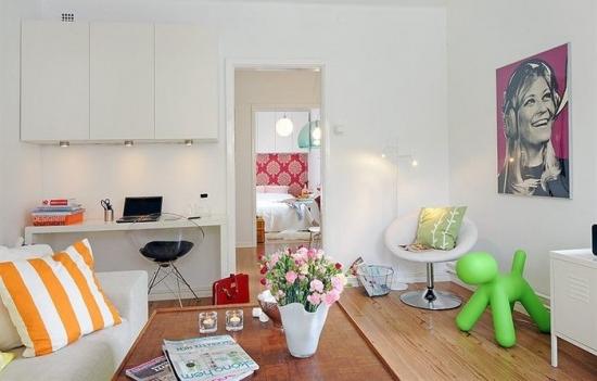 Un apartament studio de 42 de metri patrati cu accente de feminitate si veselie
