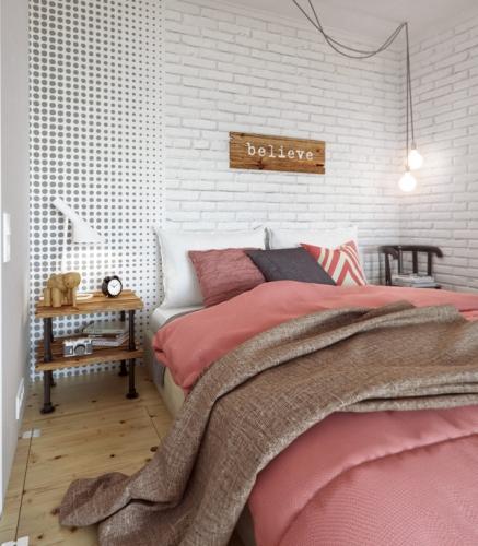 Idee pentru amenajarea unui mic dormitor intr-un apartament de 1 camera