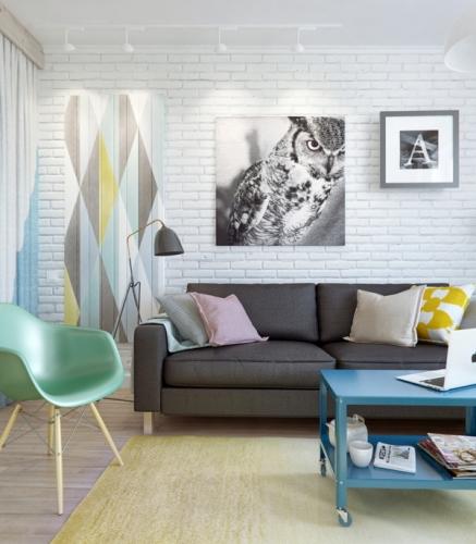 Apartament de o camera amenajat cu alb si multe accente pastelate - un proiect mic dar perfect