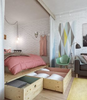 Platforma inaltata din lemn in dormitor cu spatii de depozitare