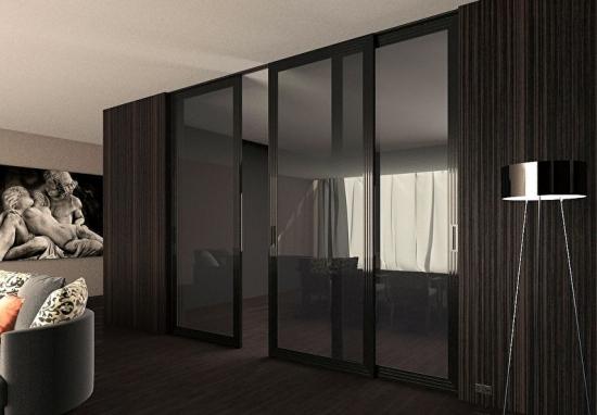Design modern living cu perete din sticla