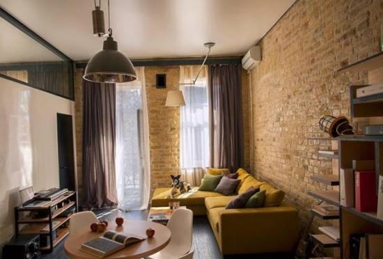 Apartament studio cu 1 camera cu peretii cu caramida
