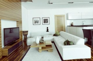 Studio amenajat modern cu mobila alba si lemn striat