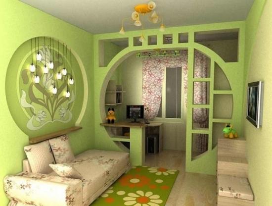 Camera copil culoare verde cu arcada