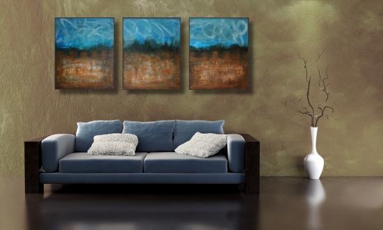 Arta moderna pentru living combinatie de albastru cu maro inchis