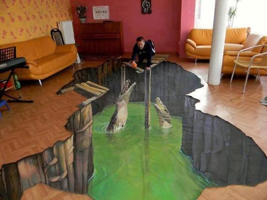 Arta vizuala 3D pentru pardoseala din living