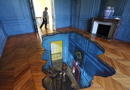 Pictura tridimensionala pe parchetul din living
