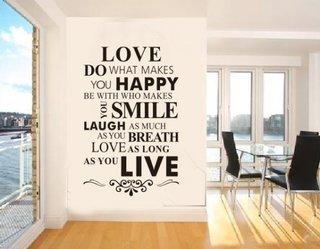 Stickere decorative aplicate ca si mesaje pe perete