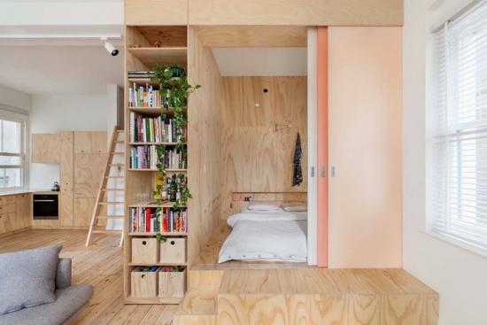 Nisa construita din placaj din lemn pentru amenajare dormitor in garsoniera