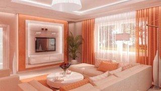 Idee de aezare a canapelei si a teevizorului in sufragerie