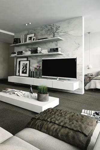 Living alb cu gri televizor asezat pe o comoda joasa