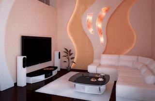 Living minimalist cu decoratiune luminoasa din rigips pe perete