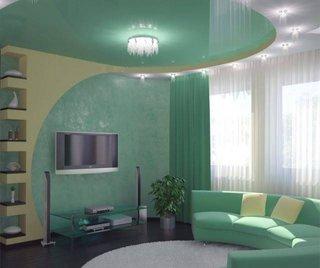 Living turcoaz cu scafa si etajere din gips carton
